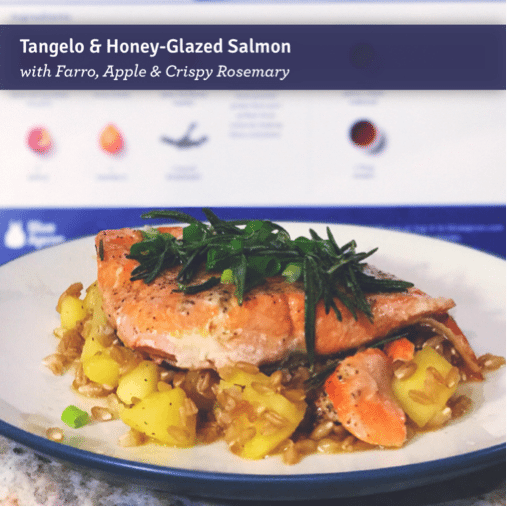 Tangelo and Honey-Glazed Salmon with Farro, Apple and Crispy Rosemary